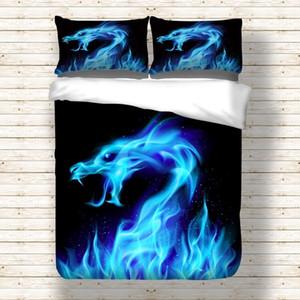 Juego de funda nórdica de 3D Blue Flame Dragon Ropa de cama Funda de edredón Fundas de almohada 3 piezas
