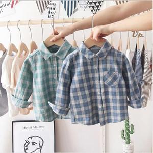 Bebé camisa a cuadros niños niños niñas manga larga tops algodón rechazo blusa blusa cuadrícula casual camisetas para niños pequeños gentleman juego ayp624