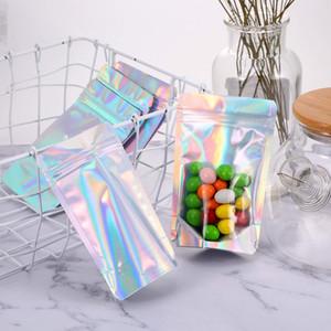 50шт лазера алюминиевой фольги Mylar Zip замок сумка Clear Голограмма Радуга Stand Up Zip блокировки пластиковой упаковки сумка с Tear Notch