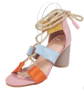 Ready To Ship 2020 Hot Popular Women's Shoes Color Block Thick Heel Lace Open Toe Color Sandals