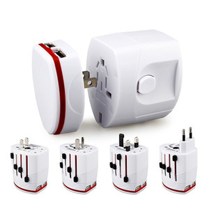 All in one Universal World Travel AC Power Multi Adapter EU UK US AU with 2 USB White black Color