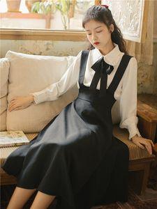 Preppy Style Women Sets Vintage Peter Pan Collar Long Sleeve White Shirt & Black Tank Dress Fashion Elegant Two Piece Suits