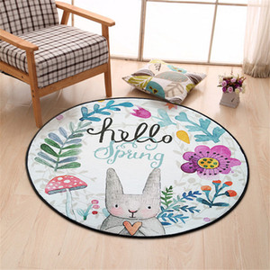 Wholesale Diameter 80CM Hand-Painted Rabbit Round Carpet Super Soft Coral Fleece Living Room Carpet Bedroom Mat Rug Free Shipping