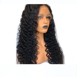 360 Lace Frontal Wig Pre-Plucked Natural Hairline Lace Front Human Hair Wigs For Black Women Deep Curly Wig With Baby Hair Black Color 12&qu
