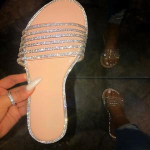 Sapatos Moda feminina AKEXIYA 2020 Verão Novo Brilhante Diamante Mulheres Plano Chinelos Amazon selvagem Casual Mulheres sandálias e chinelos