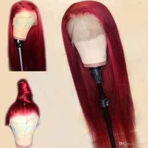Cheveux humains pleine perruque de dentelle de style Moyen Partie brésilienne Cheveux raides Bourgogne perruque 130% Densité avec bébé cheveux