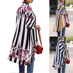 Frauen Herbst Unregelmäßige lange Bluse Art und Weise Striped Langarm-Shirt Tops