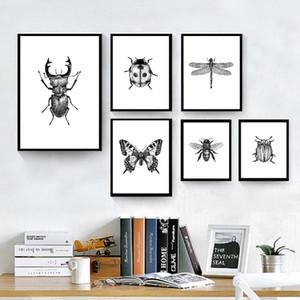 Insectes Illustration en noir et blanc Wall Art Toile peinture Bugs dessinés à la main d'insectes Affiches et Wall Prints Pictures Home Décor