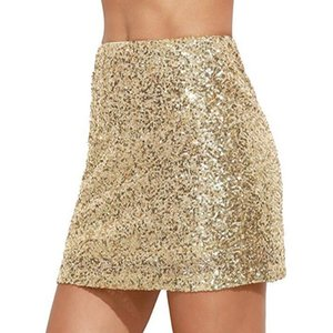 Women Reflective Shiny Sequin Skirt Party Club Bodycon Pencil Skirt Sexy High Waist Glitter Silver Gold Mini Skirts Female Jupe