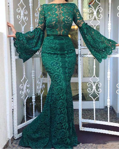 Elegante Bateau Hals volle Spitze-Nixe-Abend-Kleider Emerald Green Flare Langarm-Abschlussball-Kleid-Frauen formales Kleid Vestido De Festa