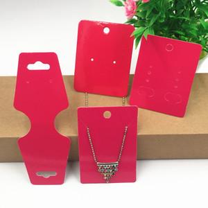 ردة حمراء ورقة قلادة حلق الأذن ترصيع عرض حامل هانغ بطاقات كرافت ورق تغليف المجوهرات