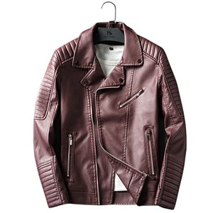 2018 New Style Men's Youth Fold-down Collar Leather Jacket Korean-style Slim Fit Locomotive PU Leather MEN'S Outerwear Men'S Wea
