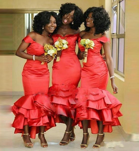 African Red Satin Mermaid Bridesmaids Dresses Off Shoulder Plus Size Tea Length Maid Of Honors Dresses Tiered Wedding Party Dresses