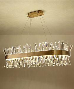 Camera di illuminazione lampada a sospensione moderna dell'oro lungo di cristallo del metallo LED del lampadario a bracci arte vivente di illuminazione PA0606