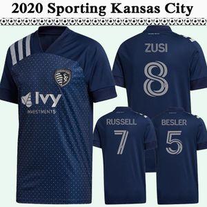 2020 2021 RUSSELL PULIDO GERSO para hombre de fútbol jerseys Nueva Sporting Kansas club de fútbol lejos camiseta azul POCO Uniforme Busio manga corta para adultos