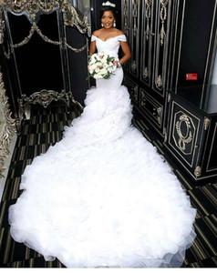 Weg von der Schulter Schöne Meerjungfrau Brautkleider 2019 Afrikanische Spitze Mieder Lange Brautkleider Nach Maß BC0845