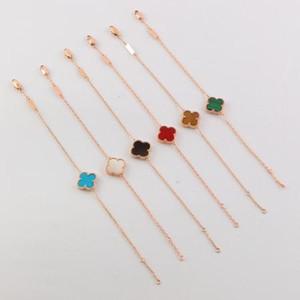 Braccialetti con ciondoli a forma di trifoglio di design per donna Bracciali a forma di trifoglio 2019 Bracciale in argento dorato di lusso nuovo per donna
