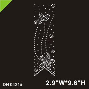 Figure skating 2020 Best quality wholesale crystal cheer bow rhinestone transfers DIY DH0421#
