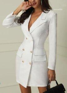 Oficina de la Mujer Blanco Negro vestido de Trabajo señora Spring Autumn V-cuello doble de pecho Blazer vestidos