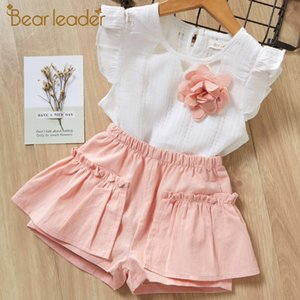 Bear Leader Girls Clothing Sets 2020 Brand Girls Suits Summer Sleeveless Appliques T-shirt+Floral Shorts 2Pcs Children Clothing Y200525