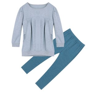 Autumn Winter Knitted Cotton Girls Clothes Sets 2Pcs Long Sleeve Blouses Long Pants Pullover Casual Loose Fashion Cute Pocket Bl
