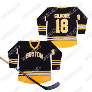 Mens Boston Bruins 18 Happy Gilmore Jersey Black Vintage Hokkey Jersey двойное сшитое имя и номер высокого квадрата в наличии
