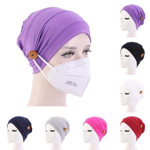 New Elastic Turban Muslim Kopftuch mit Knopf Hut Frauen Kopftuch Bonnet Inner Hijabs Cap Muslim Hijab femme Wickelkopf-Taste