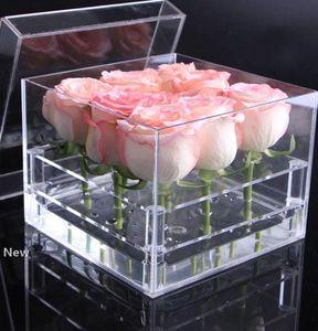 Acrylic Rose Flower Box Multi Function Organizer Holder Makeup Case Cosmetic Tools Holder Valentine's Gift KKA7894