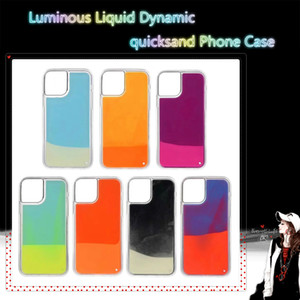 Luminous Neon Sand Case For Iphone 11 12 Pro 6 7 8 plus X XR XS Max Cover Glitter Liquid Dynamic quicksand Phone Cases
