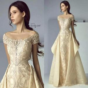 Weinlese weg von der Schulter Champagne Prom Dresses Short Capped Sleeves mit Overskirts bodenlangen voll applizierten formalen Abendkleider