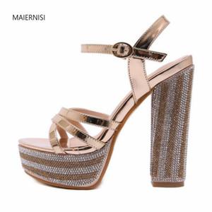 MAIERNISI novo show modelo padrão de marcha Superior celebridade Internet qualidade Mulheres Sandals 15CM grosso calcanhar Nightclub 3-8 setembro