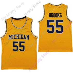 2020 New NCAA Michigan Wolverines Jerseys 55 Eli Brooks College Basketball Jersey Yellow Size Youth Adult