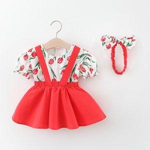 Çocuklar Tasarımcı Giyim Kız Short Sleeve Suit Yaz Çocuk Baskılı kısa kollu gömlek Bebek Çocuk Katı Renk Suspender Etek