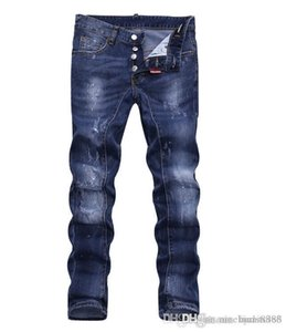 European standing men's jeans, men's jeans, a pair of skinny jeans and black embroidered skulls#078