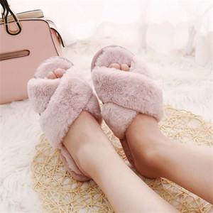 Mujeres Winter Inicio zapatillas con piel de imitación de moda zapatos caliente Mujer Slip Cruz Flush en planos femeninos Diapositivas