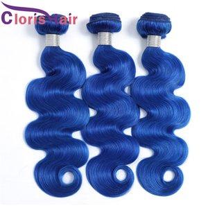 Top Wellenförmige blaue 100% echte menschliche Haare peruanische Virgin-Erweiterungen 3 Bündel Körperwellen-Haar-Gewebe vor farbigen blauen Maschinen Doppelschuss auf Verkauf