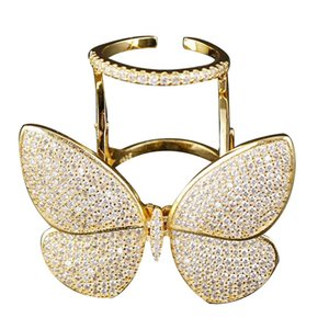Fashion Movable Rings Cubic Women Zirconia Inlaid Finger Rings Gold Silver Color Open Finger Jewelry