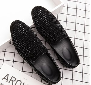 Design Full Shining PVC Bricks Decoration Mens Formal Dress Shoes Soft Sole Slip-on Loafers Big Size Party Casual Shoes DA6