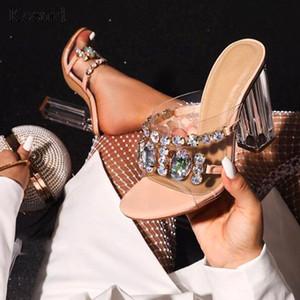 Kcenid atractivo del PVC cristal transparente tamaño señoras de la manera sandalias de zapatos de mujer de verano claras zapatillas de tacón tacones altos zapatos de fiesta 42