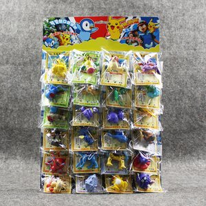 24pcs / lot Ball Chiffres Jouets 2-6cm Balle Charizard Eevee Bulbasaur Suicune Pvc Mini Modèle Jouets Avec Des Cartes Y19051804