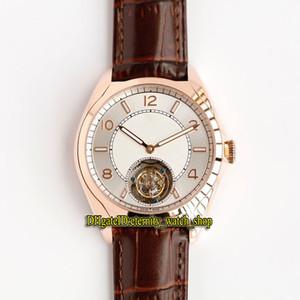 Haut de la version FIFTYSIX 6000E / 000R-B488 réel Tourbillon mécanique Cadran Blanc Mens Watch Saphir or rose en cuir Montres Bracelet Designer