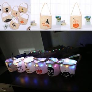 Halloween Eimer mit Süßigkeiten für Kinder geführten Nachtsegeltuch-Süßigkeit-Geschenk-Taschen Halloween-Kürbis-Geist-Schädel Printed Fest-Süßigkeit-Speicher-Beutel