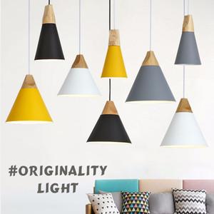 Современные деревянные подвесные светильники красочные алюминиевый абажур светильник столовая огни подвесная лампа для домашнего освещения