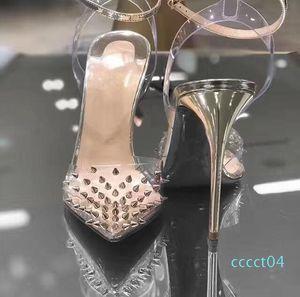 2020 New Red Bottom High heels Genuine leather Woman pumps Crystal Woman High Heels Pointed toe Rivet Wedding Full Original Packaging ct4