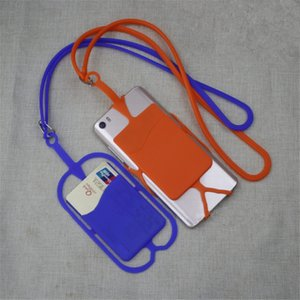 New type silica gel mobile phone lanyard mobile phone protective cover silica gel card insert Cover Party small gift T9I00149