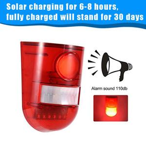Yard-Garten-Solar Sound-Sicherheits-Warnung Blitzleuchten Powered, 6 LED-Bewegungs-Sensor Strobe Alarm Außen Alarm Siren Hauptsicherheitssystem,