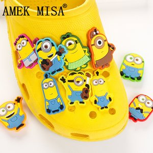 Novelty Cute 10Pcs a Set PVC Cartoon Minion Garden Shoes Buckles Accessories Charm Decorations Fit Bands Bracelets Croc JIBZ D06