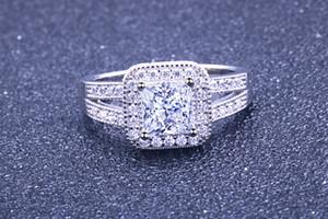 المجوهرات الاسترليني خاتم الفضة للمرأة طبقة مزدوجة الزركون مربع تشيكوسلوفاكيا الأزياء حلقة شخصية شعبية S925 الجديدة مع مربع