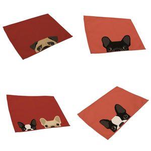 4adet Pamuk Keten Placemats Sevimli Kedi Ve Köpek Pamuk Masa Mats Isıya Dayanıklı Mutfak Tablemats yazdır