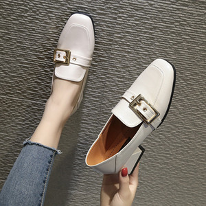 Metal belt buckle slip on moccasins chunky heels OL work woman shoes brief comfy soft leather loafers solid dress ladies flats